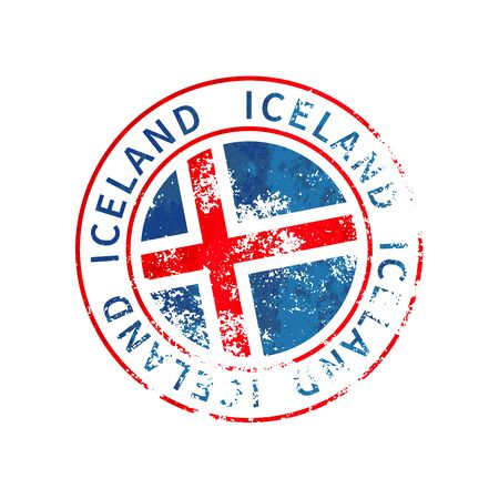 Iceland sign, vintage grunge imprint with flag isolated on white 向量圖像