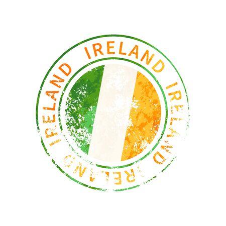 Ireland sign, vintage grunge imprint with flag isolated on white