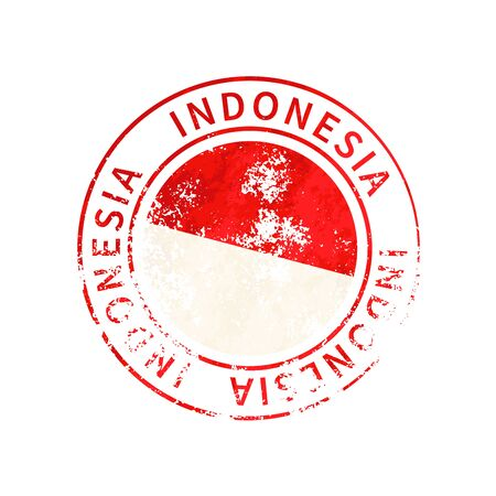 Indonesia sign, vintage grunge imprint with flag isolated on white 向量圖像