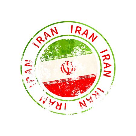 Iran sign, vintage grunge imprint with flag isolated on white