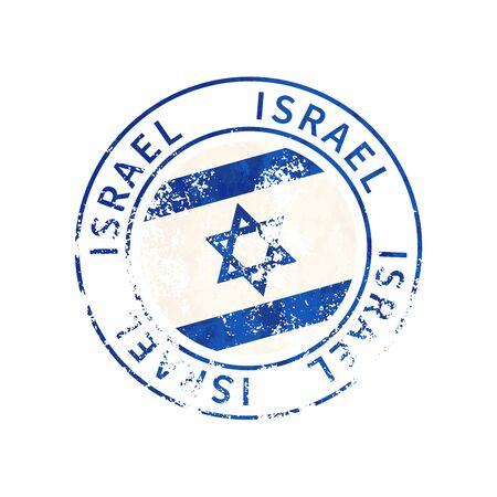 Israel sign, vintage grunge imprint with flag isolated on white
