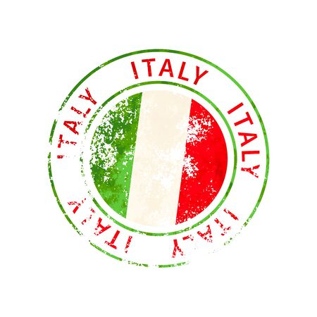 Italy sign, vintage grunge imprint with flag isolated on white