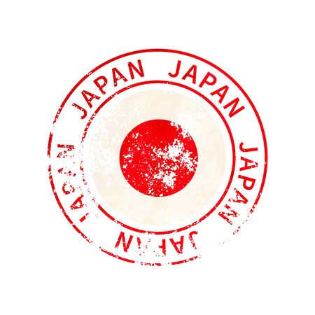 Japan sign, vintage grunge imprint with flag isolated on white