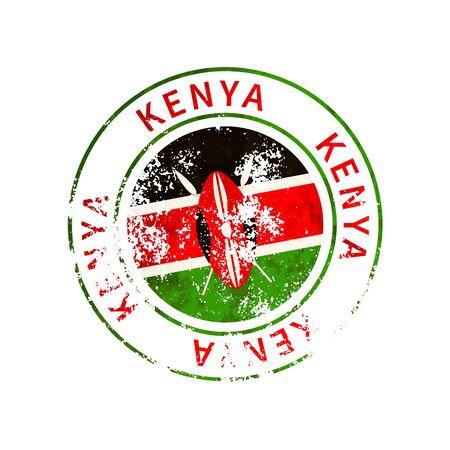 Kenya sign, vintage grunge imprint with flag on white