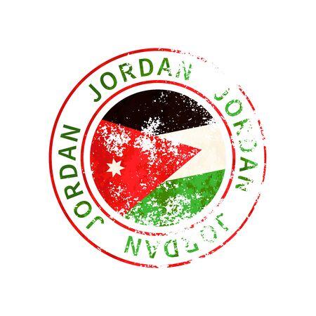 Jordan sign, vintage grunge imprint with flag on white