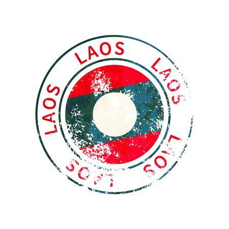 Laos sign, vintage grunge imprint with flag on white 向量圖像