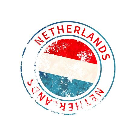 Netherlands sign, vintage grunge imprint with flag isolated on white