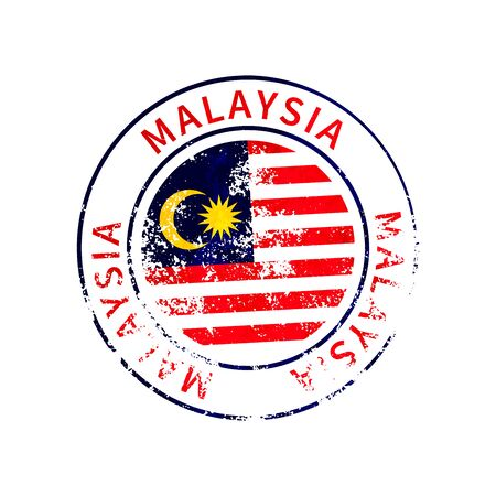 Malaysia sign, vintage grunge imprint with flag on white 向量圖像