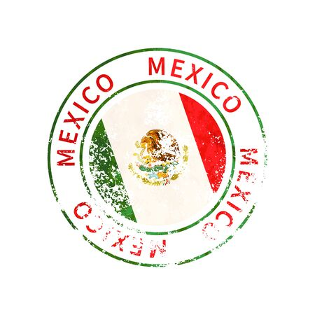 Mexico sign, vintage grunge imprint with flag isolated on white