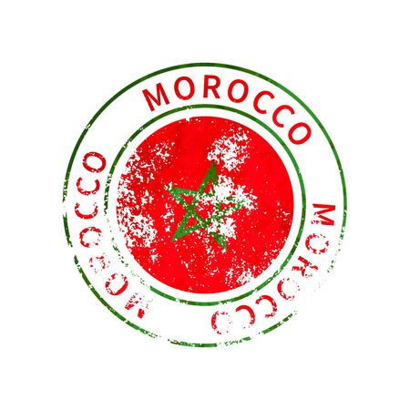Morocco sign, vintage grunge imprint with flag on white