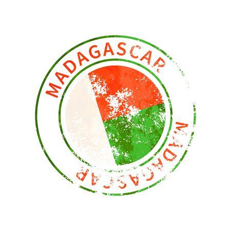Madagascar sign, vintage grunge imprint with flag isolated on white 向量圖像