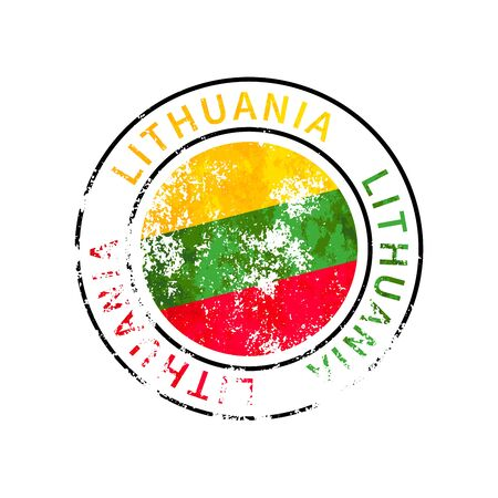 Lithuania sign, vintage grunge imprint with flag isolated on white