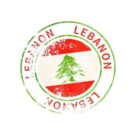 Lebanon sign, vintage grunge imprint with flag isolated on white 向量圖像