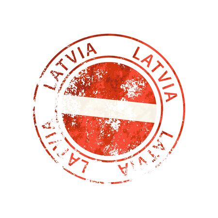 Latvia sign, vintage grunge imprint with flag isolated on white Illustration