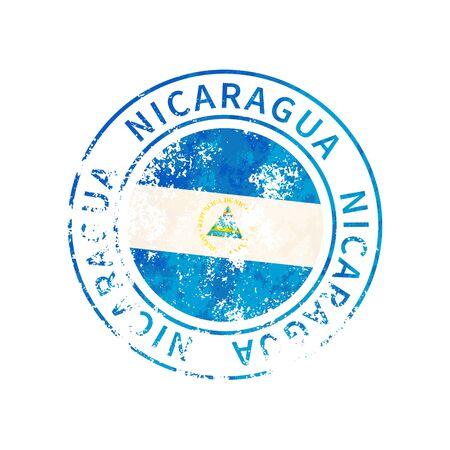Nicaragua sign, vintage grunge imprint with flag on white