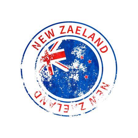 New Zaeland sign, vintage grunge imprint with flag on white