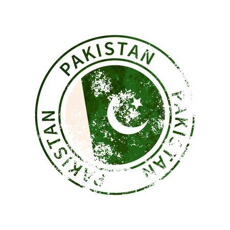 Pakistan sign, vintage grunge imprint with flag isolated on white Illustration