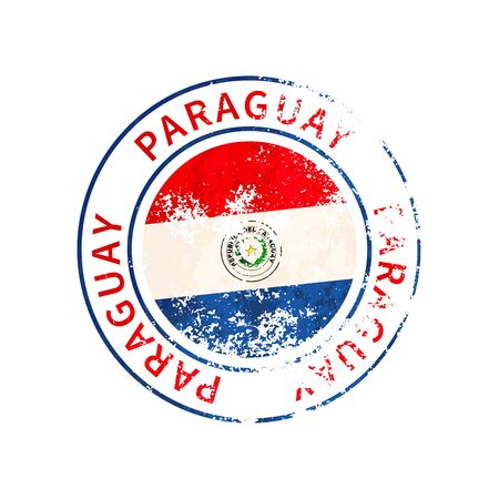 Paraguay sign, vintage grunge imprint with flag isolated on white 向量圖像