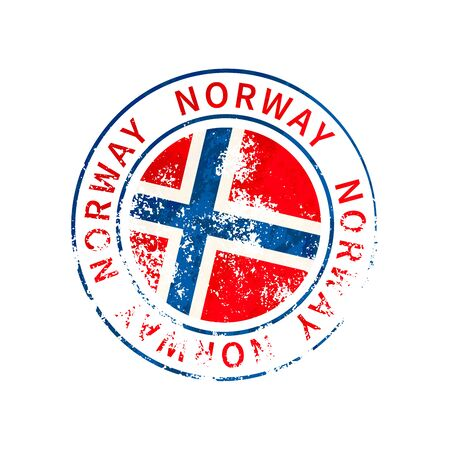 Norway sign, vintage grunge imprint with flag isolated on white
