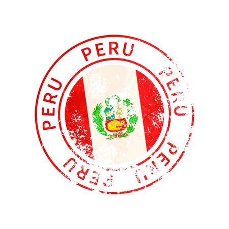 Peru sign, vintage grunge imprint with flag on white 向量圖像