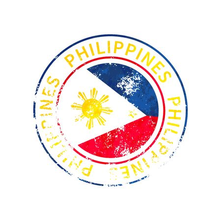 Philippines sign, vintage grunge imprint with flag on white 向量圖像