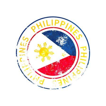 Philippines sign, vintage grunge imprint with flag on white Illustration
