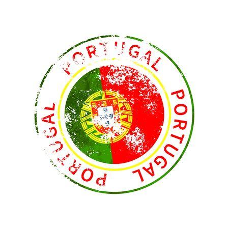 Portugal sign, vintage grunge imprint with flag on white 向量圖像