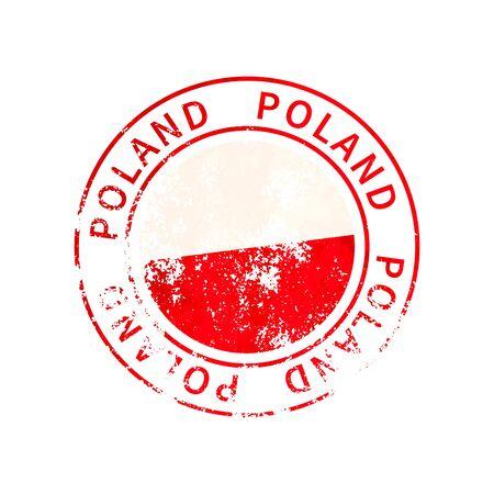 Poland sign, vintage grunge imprint with flag on white