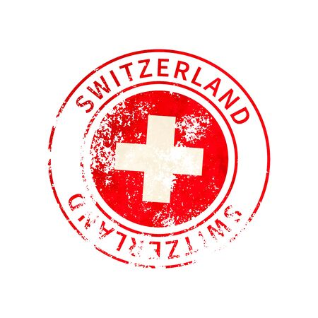 Switzerland sign, vintage grunge imprint with flag on white