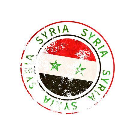 Syria sign, vintage grunge imprint with flag on white 向量圖像