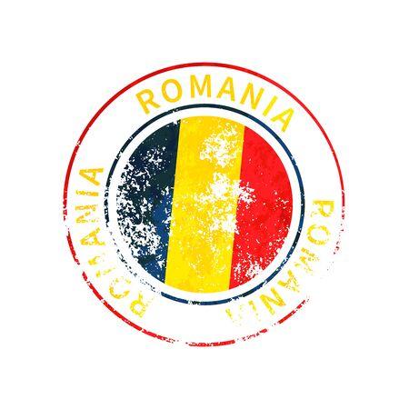 Romania sign, vintage grunge imprint with flag on white