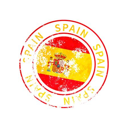 Spain sign, vintage grunge imprint with flag isolated on white