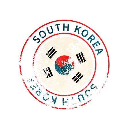 South Korea sign, vintage grunge imprint with flag isolated on white
