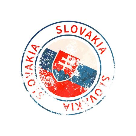 Slovakia sign, vintage grunge imprint with flag isolated on white