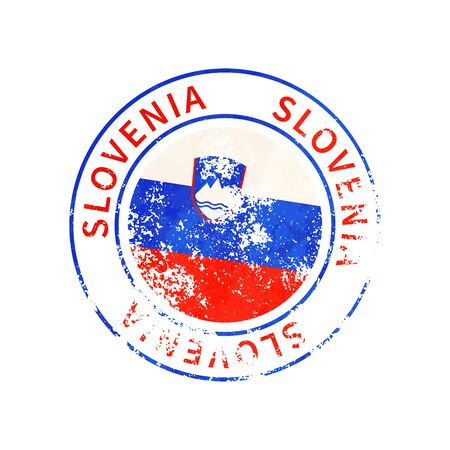 Slovenia sign, vintage grunge imprint with flag isolated on white
