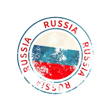 Russia sign, vintage grunge imprint with flag isolated on white