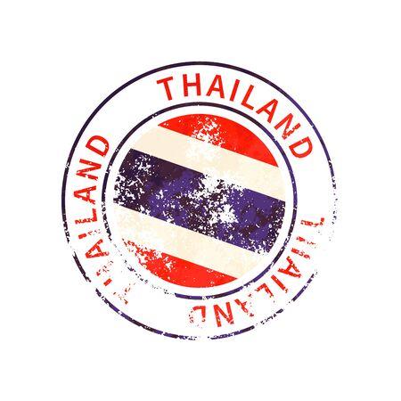 Thailand sign, vintage grunge imprint with flag on white 向量圖像