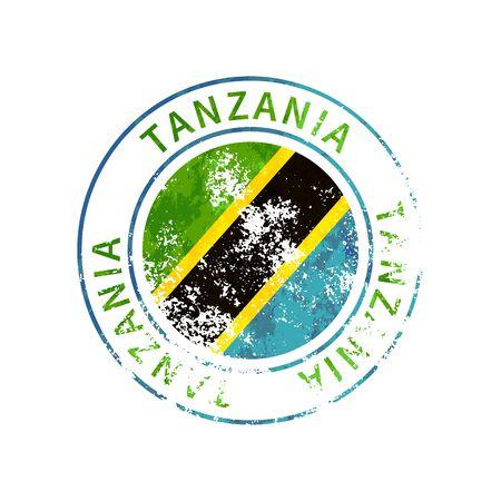Tanzania sign, vintage grunge imprint with flag on white