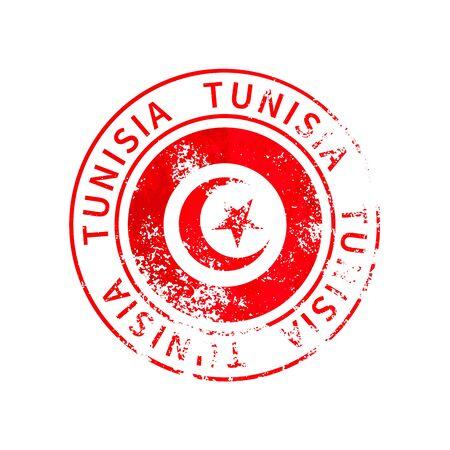 Tunisia sign, vintage grunge imprint with flag isolated on white 向量圖像
