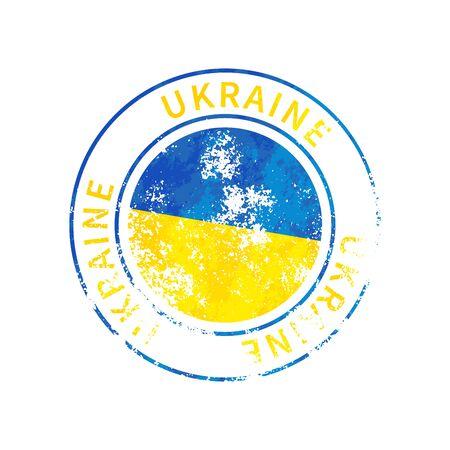 Ukraine sign, vintage grunge imprint with flag isolated on white