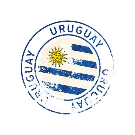 Uruguay sign, vintage grunge imprint with flag isolated on white
