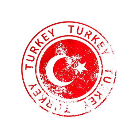 Turkey sign, vintage grunge imprint with flag isolated on white