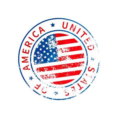 USA sign, vintage grunge imprint with flag on white 向量圖像
