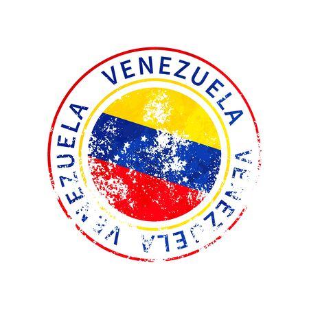 Venezuela sign, vintage grunge imprint with flag isolated on white