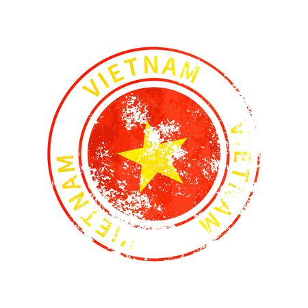 Vietnam sign, vintage grunge imprint with flag isolated on white 向量圖像