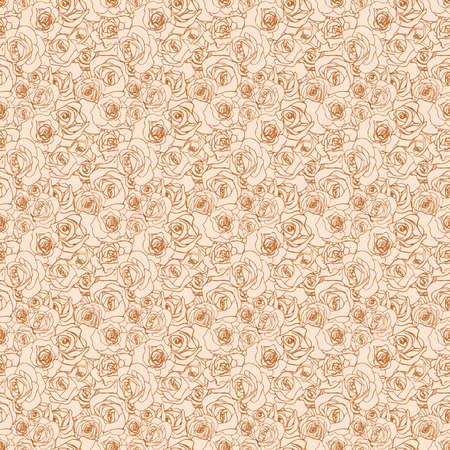 Gentle rosebuds on beige background, retro seamless pattern Banque d'images - 150754289
