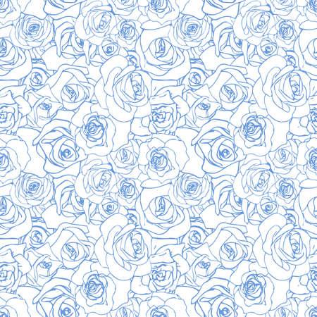 Gentle blue rosebuds on white background, seamless pattern Illustration