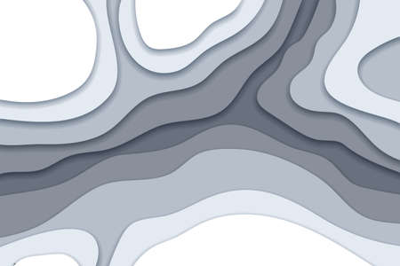 Abstract grayscale background in paper cut and craft style