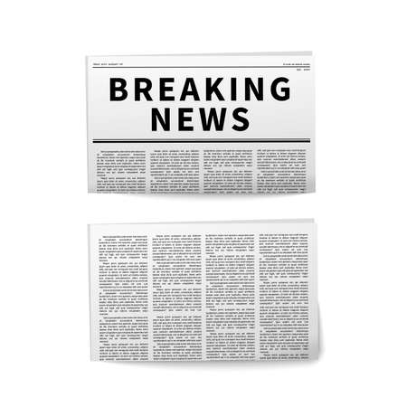 Breaking news, folded newspaper realistic icons on white 向量圖像