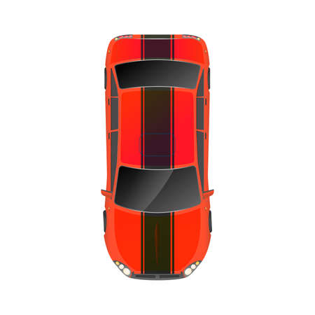 Top view of realistic glossy red sport car on white Ilustracja